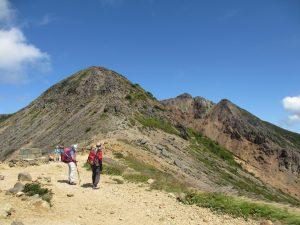 左側剣が峰、右中朝日岳